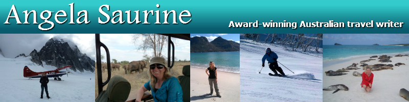 Angela Saurine, Award-winning travel journalist. Images of Angela Saurine in Alaska, Kenya, Wineglass Bay, Skiing, Easter Island, and the Galapagos Island.